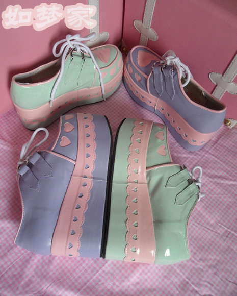 shoes cute pink pastel pastel platforms sweet kawaii platform platform shoes loli lolita sweet lolita petit and sweet couture petite petite fashion pastel pink cutie pastel creepers hearts heart shoes platforms