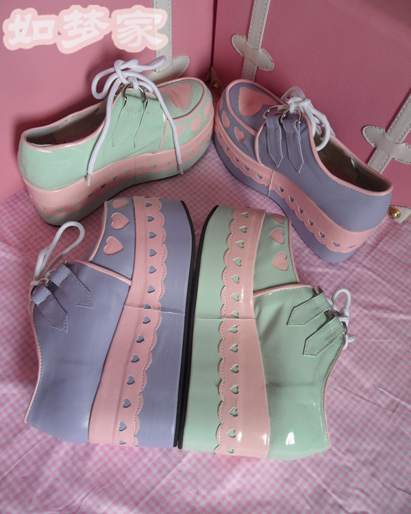 shoes pastel pastel platforms pastel creepers heart heart shoes platform shoes creepers fake creepers heart purple aqua green lace lace up laces cute pink sweet kawaii platform shoes platform shoes loli lolita lolita petit and sweet couture petite petite fashion pastel pink cutie mint white