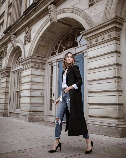 coat tumblr black coat long coat black long coat shirt white shirt denim jeans blue jeans ripped jeans pumps high heel pumps pointed toe pumps