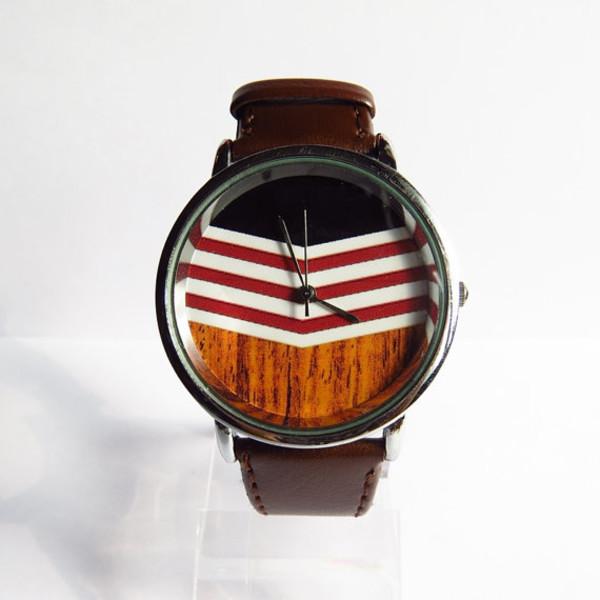 jewels chevron wooden wood watch watch handmade etsy style