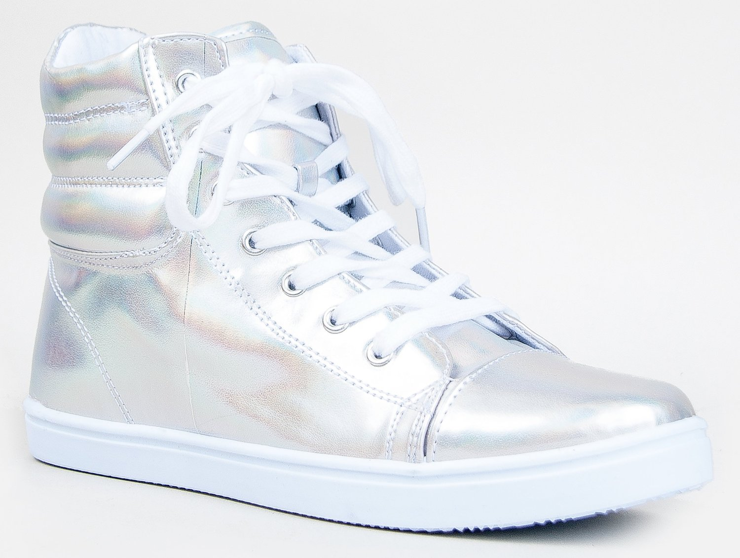 Amazon.com: Qupid TRIVIA-32A High Top Lace Up Hologram Sneaker Shoe: Shoes