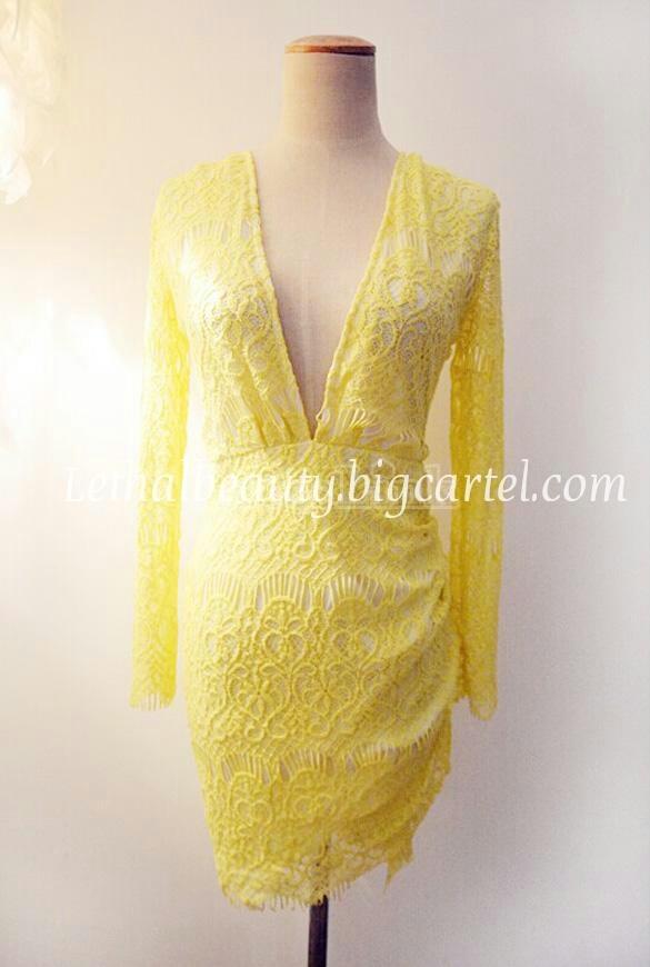 Yellow lace mini deep v neck dress