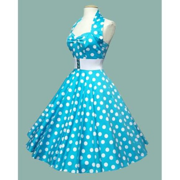 dress 1950s light blue cute polka dots halterneck
