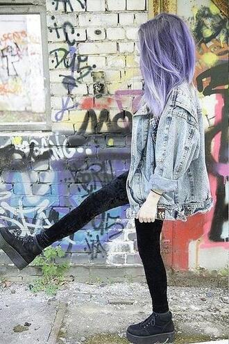 grunge accessory grunge shoes platform shoes black shoes hair dye purple hair oversized jacket soft grunge denim jacket velvet leggings black leggings leggings grunge denim velvet free vibrationz jacket