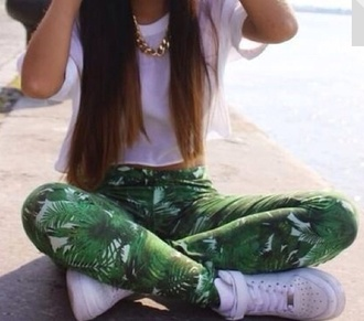 pants green leaves palm tree leggings shirt shoes