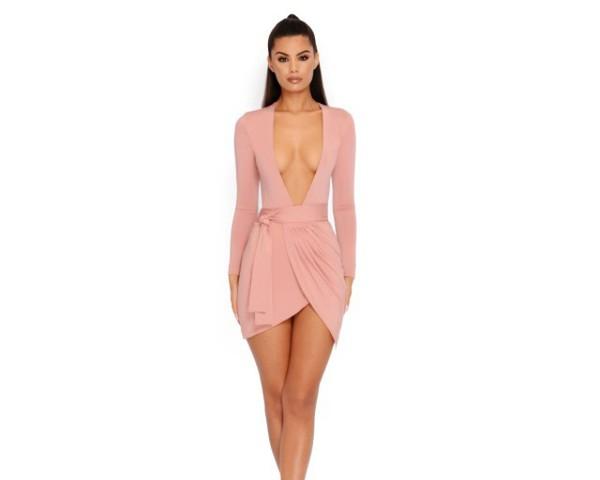 dress pink pink dress wrap dress satin belt bodycon dress bodycon cleavage plunge v neck mini mini dress