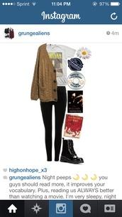 shirt,nirvana t-shirt,oversized sweater,DrMartens,sweater