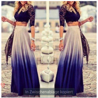 ombre maxi skirt lace crop top black crop top blue skirt navy skirt dress purple white grey blue gradient beautiful long skirt festival fashion freevibrationz