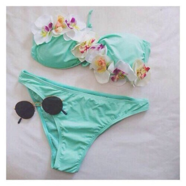 swimwear flowers bikini sexy pretty blue pink beach