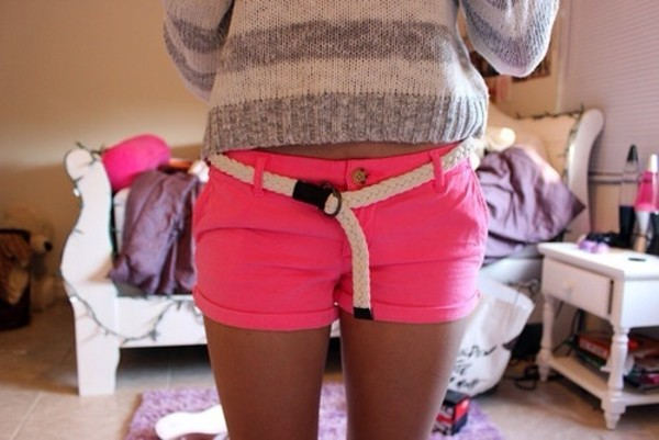 shorts sweater belt neon pink shorts