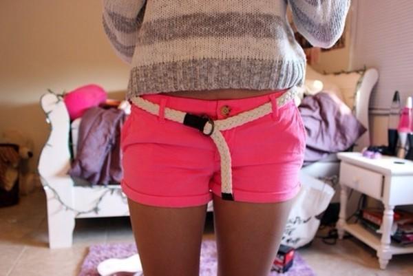 shorts sweater belt neon pink shorts