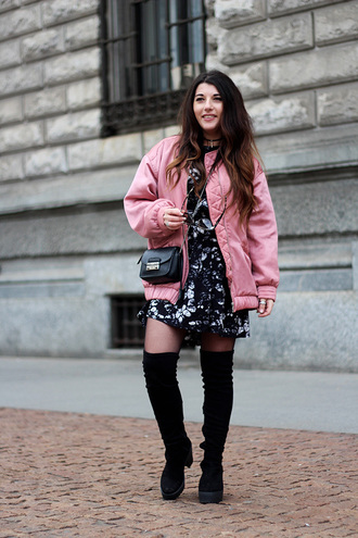 jacket black and white dress pink bomber jacket knee high boots black handbag blogger