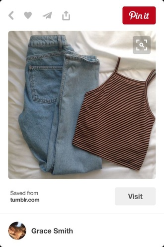 tank top top trendy summer fashion style stripes crop crop tops cropped brandy melville striped top
