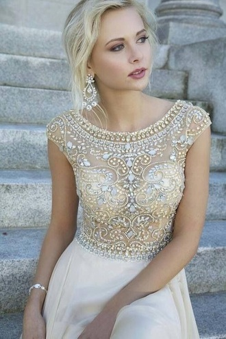 dress white dress beaded pretty
