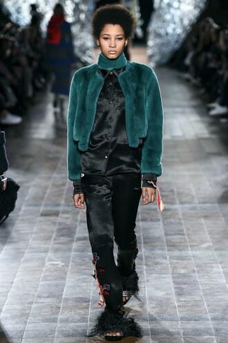 jacket sonia rykiel fur cropped jacket pants top fashion week 2017 paris fashion week 2017
