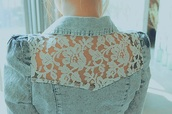lace,jeans,blue,white,lace white,jacket,denim jacket,flowers,vintage,girly,acid wash