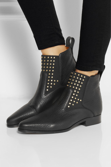 Chloé | Studded textured-leather ankle boots | NET-A-PORTER.COM