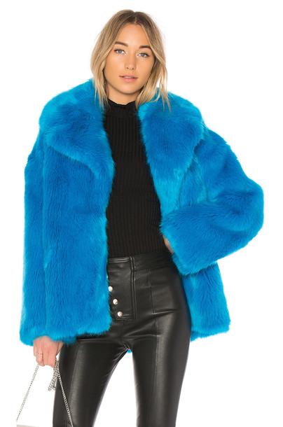 Diane Von Furstenberg jacket faux fur jacket fur jacket fur faux fur blue