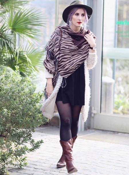 like a riot blogger hat cardigan blanket scarf zebra animal print cowboy boots printed scarf jewels scarf dress bag shoes