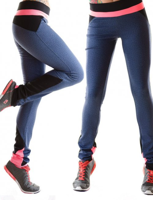 Lady's Active Wear Elastic Belted Polyester Bodycon Pants