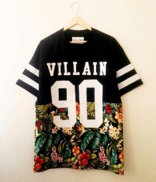 90 color brand villain shirt floral t-shirt stripes t-shirt, floral, black, white, number, baseballshirt, villain t-shirt vilain 90