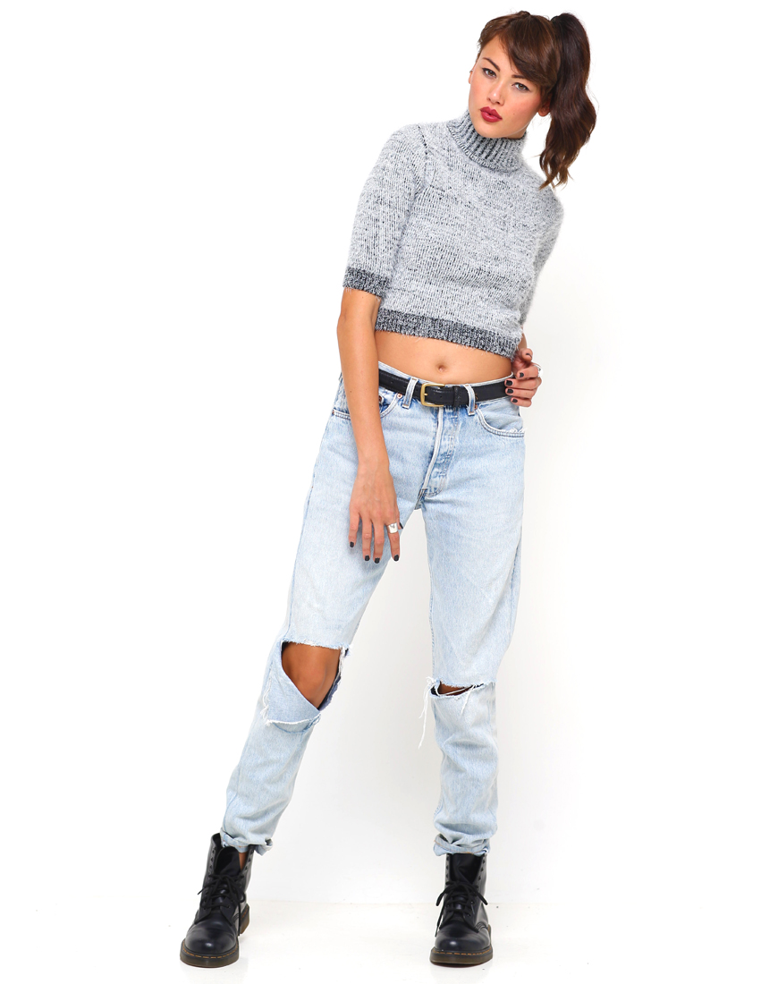 Buy Motel Verona Turtleneck Cropped Sweater in Grey at Motel Rocks