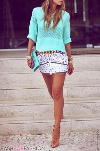 skirt gold white mini shirt