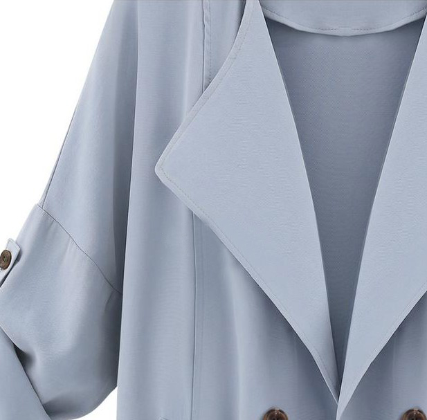 Blue Long Sleeve Pockets Trench Coat - Sheinside.com