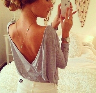 blouse sweater grey jewels shirt low cut back cute feminine top grey long sleeve open back top