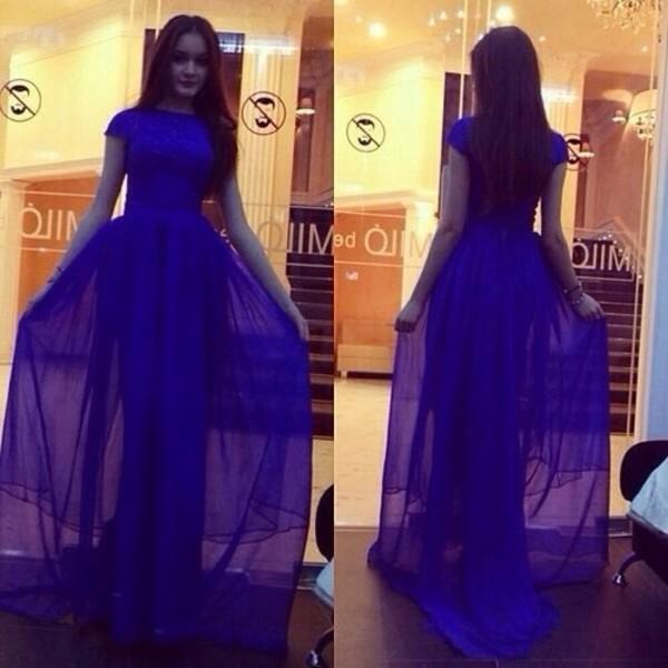 dress long prom dress blue prom dress