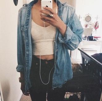 jacket denim jacket shirt