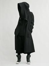 coat,black hoodie,black coat,black jacket,black blouse,dope,streetwear,streetstyle,style,street goth,long coat,black,long,hoodie,dark,all black everything,jacket,mens coat