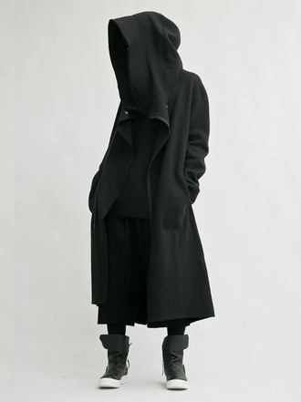 coat black hoodie black coat black jacket black blouse dope streetwear streetstyle style street goth long coat black long hoodie dark all black everything jacket mens coat