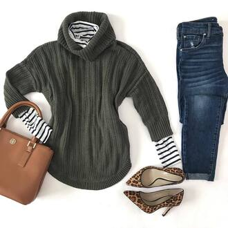 sweater green sweater t-shirt jeans blue jeans shoes handbag brown handbag bag