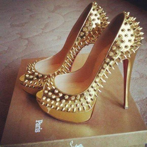 studded shoes gold pumps shoes heels gold gold heels sparkle high heels wedding shoes