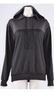coat,womens quilted hooded long sleeve hoodie black