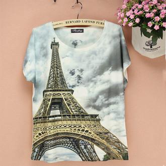 t-shirt top paris eiffel tower
