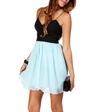 Black/Mint Short Dress