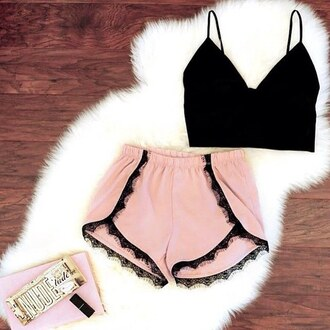 shorts pink top shirt black cropped low cut singlet tank top pretty outfit summer love sexy