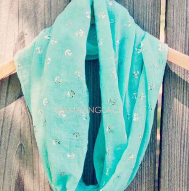 scarf infinity scarf anchor print blue nautical layer spring summer beach coastal pretty girly