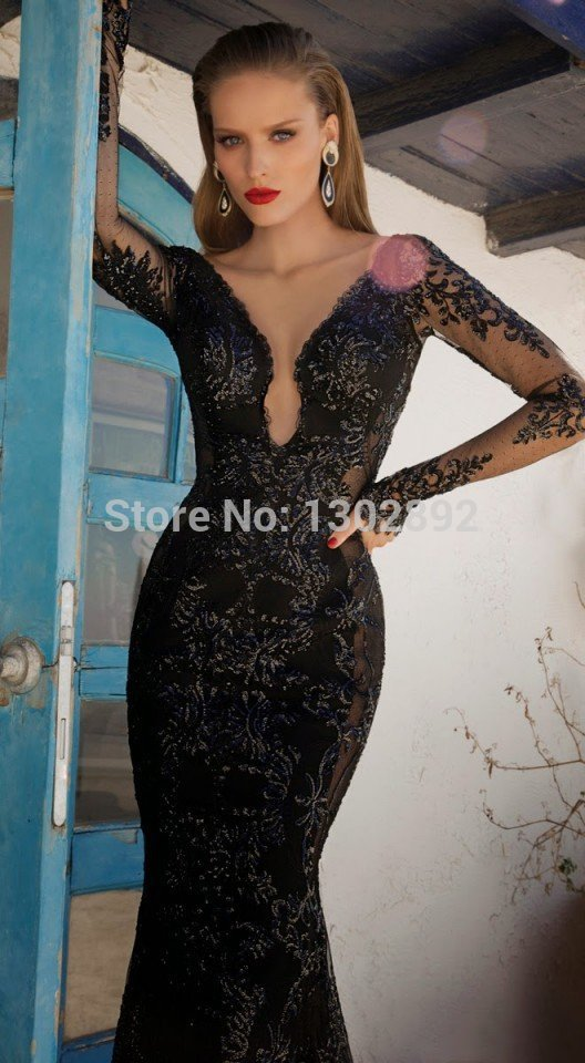 Aliexpress.com : buy 2015 new arrival desigual black evening dress applique v neck evening gowns sexy long prom dress custom made from reliable dress up games game suppliers on tideclothes