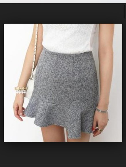 skirt grey grey skirt frilled aline frills cute dress cute skirt frilled hem aline skirt cute outfits
