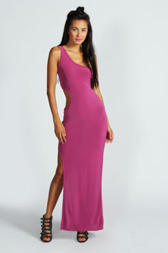Erin One Shoulder Cut Out Waist Slinky Maxi Dress at boohoo.com