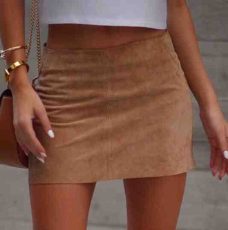 skirt suede tan brown
