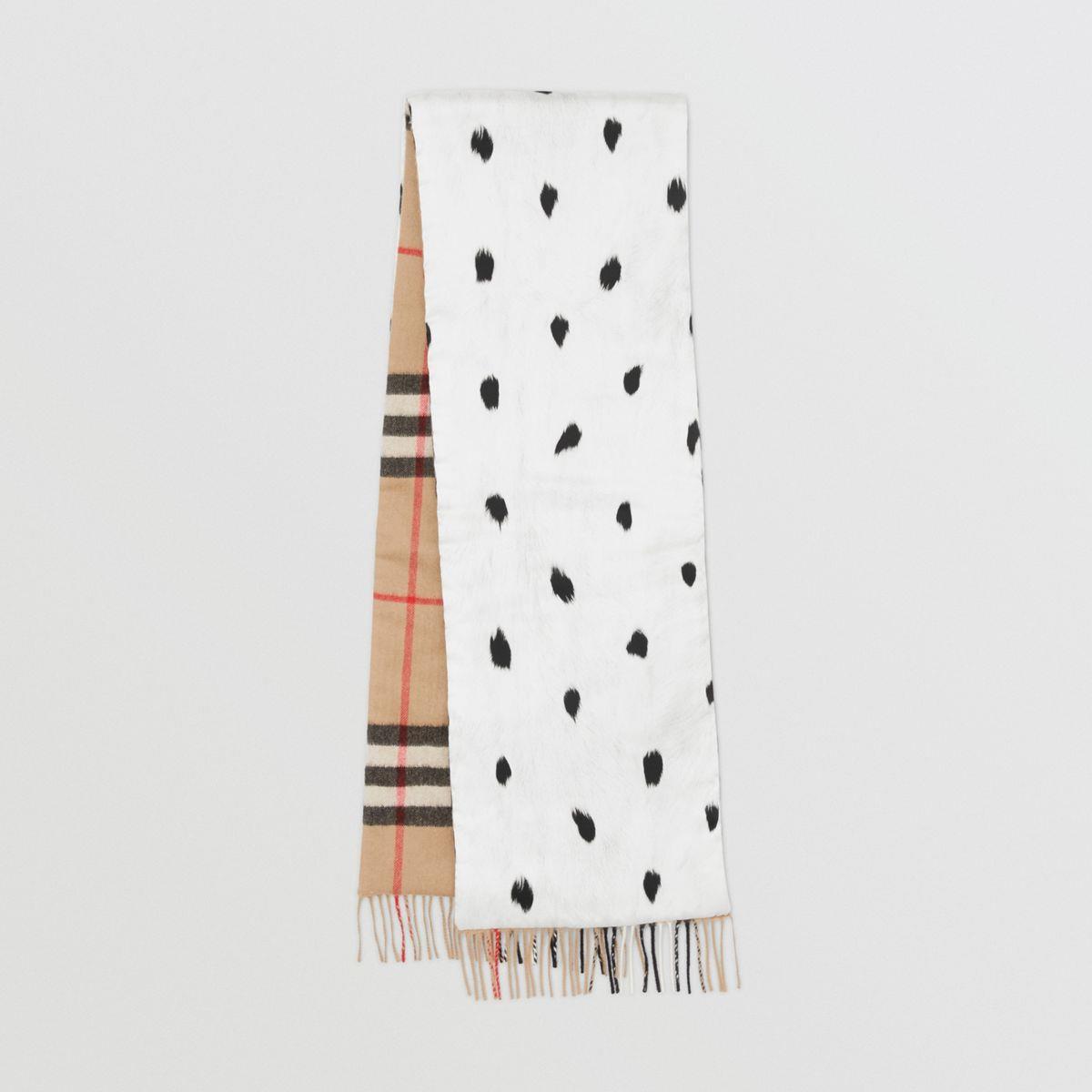 Check Cashmere and Dalmatian Print Puffer Scarf