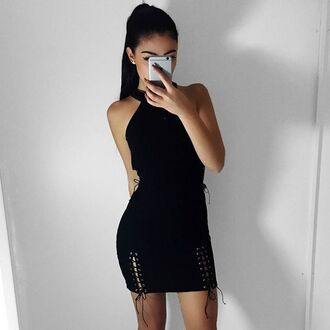 dress maniere de voir black tie detail ribbed bodycon lace up mini