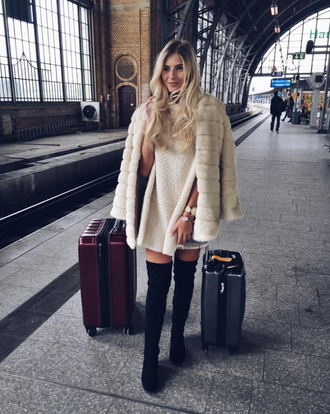 coat ivory faux fur faux fur coat winter coat winter outfits ivory coat xenia fashion streetwear