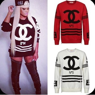 sweater black white chanel shirt pullover sweatshirt sweaterlike red sweater chanel. Black Bedroom Furniture Sets. Home Design Ideas