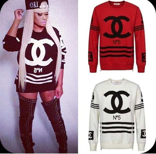 shirt chanel pullover sweaterlike sweater sweatshirt black red white