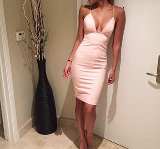 dress pink v neck dress v neck straps bodycon bodycon dress powder pink pastel pastel pink pastel pink dress sexy dress